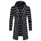 ZIYOU Gestreift Mantel Strickjacke Herren Kapuzen Cardigan Herbst Winter Langarm Oberteile Outwear Jacket(XL,Schwarz)