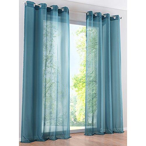 Tenda in voile a tinta unita con occhielli, decorazione per la finestra di camera, bagno, balcone, 1 pz, poliestere, blu, lxh/140x225cm