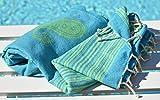 ZusenZomer® Fouta Hamamtuch XL 'Biarritz' | 100x190cm | Hochwertige Qualität Baumwolle | Strandtuch xxl, Saunatuch, Hamam Badetuch, leicht und dünn | Exklusives Design (Türkis und lime)