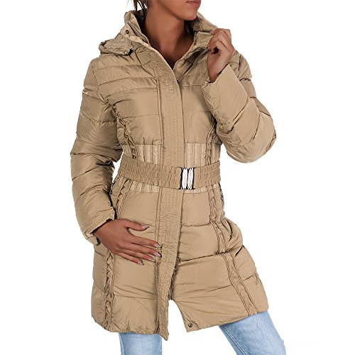H434 Damen Winter Jacke Steppjacke Parka Jacket Daunen Look Winterjacke Beige