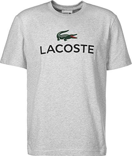 Lacoste TH7021 Klassisches Herren Basic T-Shirt mit Krokodil Logo Aufdruck, Rundhals, Kurzarm, Regular Fit, für Freizeit und Sport, 100% Baumwolle Grau (Silver Chine CCA), EU 6 (T-shirts Lacoste Herren Baumwolle)