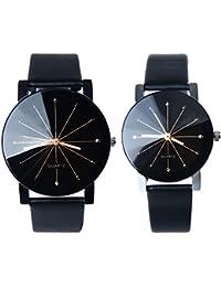 Pareja Reloj, Sayue 1pair hombres y mujeres cuero sintético caso redondo cuarzo analógico par reloj negro