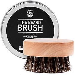 Bartbürste Bartpflege Pferdehaar kein Wildschweinborsten - Bartkamm Rund Oval Set Geschenk Produkte - Premium Ökologisch - Ideal für den Einsatz mit Bart Öl, Balsam - 5.5 cm Durchmesser