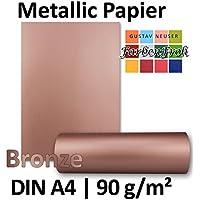 Metallic Papier DIN A4 | Bronze Metallic | 100 Stück | glänzendes Bastelpapier mit 90 g/m² | Rückseite Weiß | Ideal für Einladungen, Hochzeiten, Bastelarbeiten oder besondere Briefe