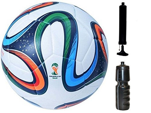 M ART Rubber Green Brazuca and Glider Black Football with Pump and Sipper Combo