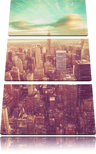 Visualizza immagine Elicottero Manhattan Bunstift Effect 3 PC foto su tela 120x80 di su tela, XXL enormi immagini completamente Pagina con la barella, stampe d'arte sul murale cornice gänstiger come la pittura o un dipinto ad olio, non un manifesto o un