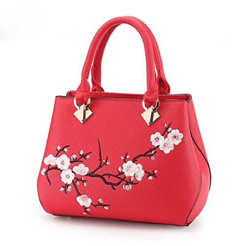 Neue Koreanische Version Der Stickerei Kleine Quadratische Tasche Damen Kettenschulter Messenger Bag WineRed