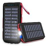 Batterie Externe Chargeur Solaire 25000mAh Portable Power Bank, Imperméable,avec 3 Ports de Sortie Lampe de Poche LED et Lampe D'avertissement SOS pour Les Activités de Plein Air....