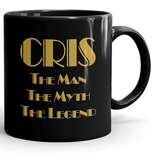 CRIS Coffee Mug Kaffeetasse Kaffeebecher Personalisiert mit Name- The Man The Myth The Legend Gift for Männer Men - 11 oz Black Mug - Gold Black 2