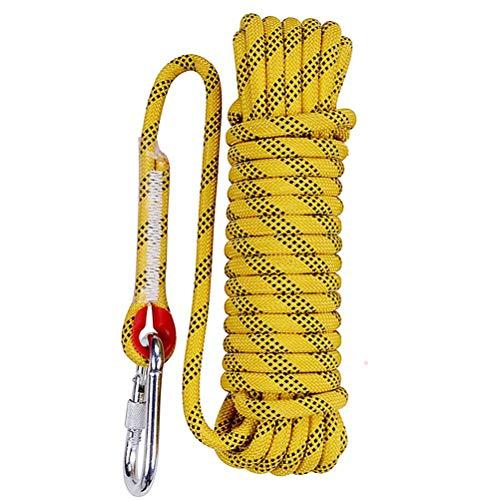 Aoneky Kletterseil mit Haken - Bergseil Sicherheitsseil mit Karabiner für Outdoor Klettern 10/15M (gelb, 10m)