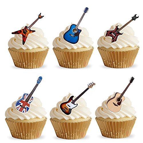 28 colocar sobre la mesa con diseño de barco acústica diseño de guitarra eléctrica de cuadrícula de papel para decoración comestible para cupcakes