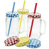 3er Set Trinkgläser mit Deckel, Henkel und Trinkhalm 450 ml