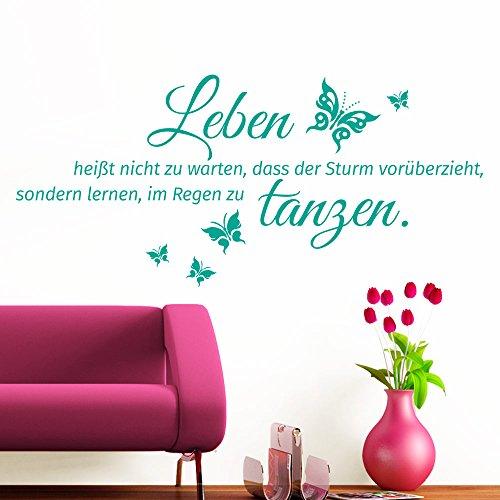Grandora Wandtattoo Spruch Leben heißt + Schmetterlinge I türkis (BxH) 100 x 46 cm I Wohnzimmer Flur Diele Sticker Aufkleber Wandaufkleber Wandsticker W996