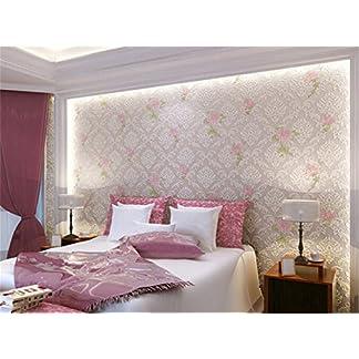 ufengke Estilo Pastoral 3D En Relieve Alivio No Tejido Bronceadores Flocado Romántico Rosa Patrón de Flores Papel Pintado Mural Para La Sala de Estar Dormitorio Matrimonio