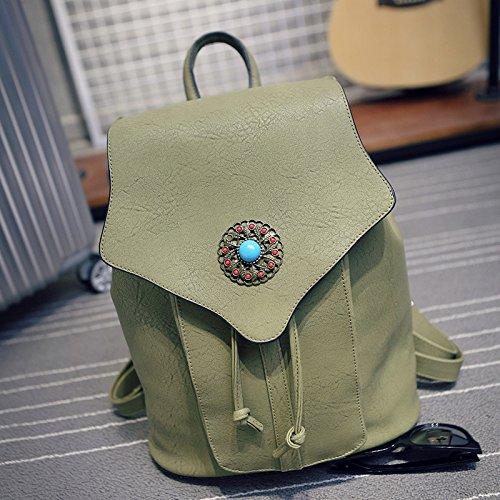 Koreanische Lady Rucksack PU Niet bag National Wind Schulter obliquer Querschnitt Retro Tasche, schwarz Black