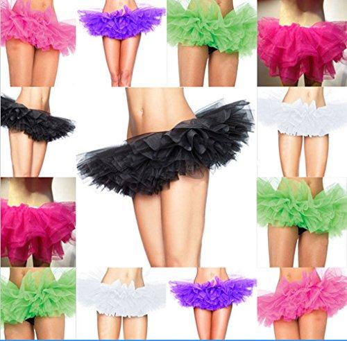 Femme Classique de Taille Haute Ballet Miniskirt Tutu Elastique Mini Robe au Genou Pettiskirt Princesse Bouffée PlisséJupe à Bulles Violet