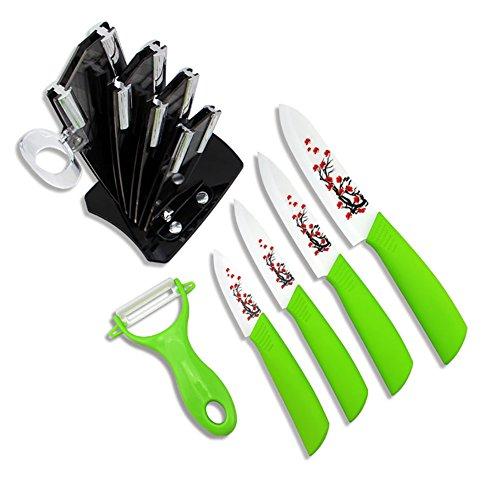 6-tlg Keramikmesser-Set 4 Keramikmesser und 1 Sparschäler Allzweckmesser Küchenmesser mit Messerblock