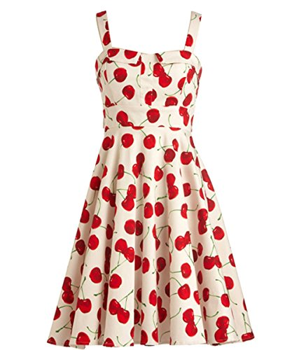 iLover Vintage cerise points Audrey robe de soirée cocktail, bal style années 50, Rockabilly, Swing Blanc