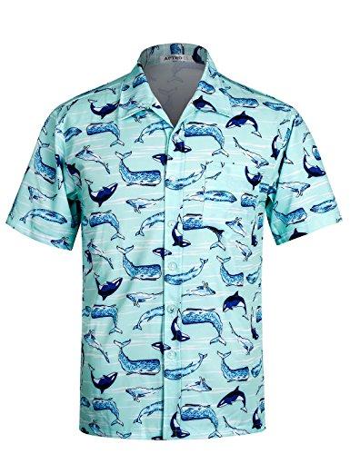 Herren Hemd Strandhemd Hawaiihemd Kurzarm Urlaub Hemd Freizeit Reise Hemd Party Hemd Hai APTRO BT008 L (Kurzarm-freizeithemd)