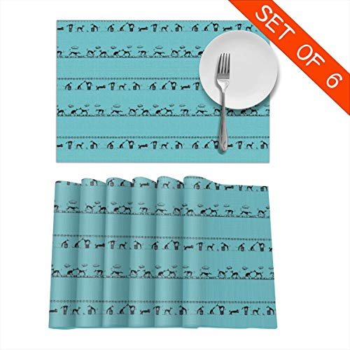 BigHappyShop Placemats,AnniCoyne DPI Heat Insulation Non Slip Plastic Kitchen Stain Resistant Placemat for Dining Table Set of 6