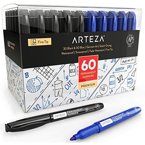ARTEZA Rotuladores permanentes negros azules | Caja
