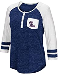"""Mississippi Ole Miss Rebels NCAA Women's """"Inconceivable"""" 3/4 Sleeve Henley Shirt Chemise"""
