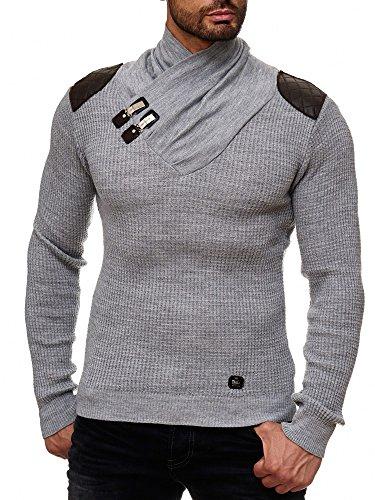 Preisvergleich Produktbild Red Bridge Herren Strickpullover Style Funnel Kragen Designer Slim Fit Pullover R41500 (L, Grau meliert)