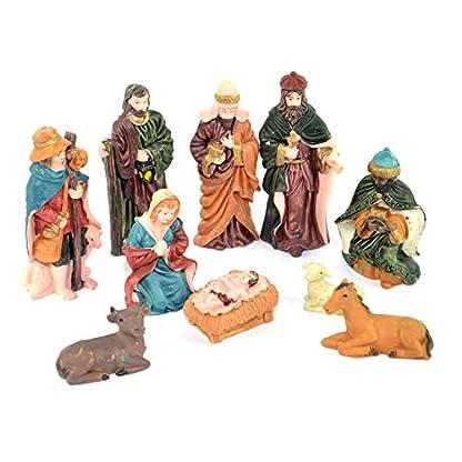 SHATCHI Holy – Juego de 10 figuras movibles para decoración de cuna de Navidad, diseño de nacimiento de Jesucristo