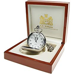 Engraved 20th Wedding Anniversary Pocket Watch with Pewter 'Happy Anniversary' Case in a Wooden Box