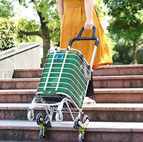 Arkmiido Carrito de Compras Plegable Tienda de comestibles portátil Utilitario Escalera Liviana Carro de Escalada con Ruedas giratorias giratorias y Bolsa de Lona extraíble Impermeable (Verde)