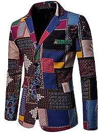 Zhiyuanan Herren Frühling Herbst Casual Blazer Jacken Sakko National  Nationaler Stildruck Slim Fit Retro Party… 141f7fe02b