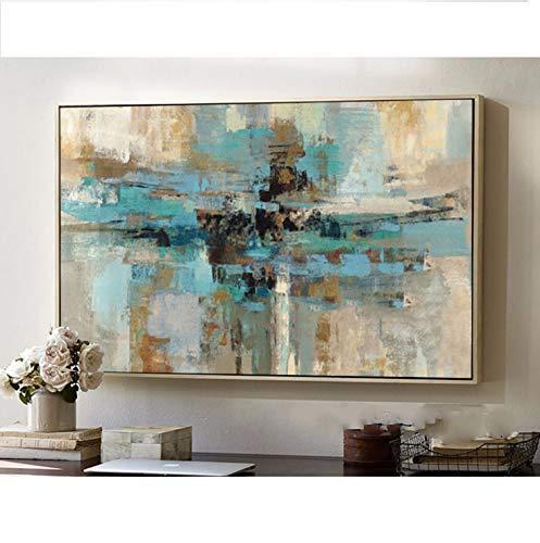 Orlco Art Hochwertiges, handgemaltes, abstraktes Gemälde, moderne Kunst, zeitgenössisch, blau-grün, Wandkunst, dekorative Textur, großes Kunstwerk, canvas, grün, 32x48inch(80x120cm)