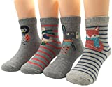FLYCHEN 4 Paare Mädchen Jungen Cartoon Socken mit Tiermotiv süße Baumwolle Socken passt von Neugeborenen zu 12 Jahre Alt Mehrfarbig Stil 1 M