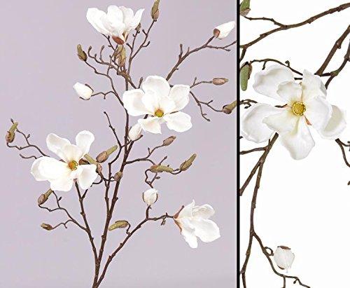 Zweig Deko Magnolien, 4 Blüten weiß, Höhe 107cm – Kunstpflanze Kunstbaum künstliche Bäume Kunstbäume Gummibaum Kunstoffpflanzen Dekopflanzen Textilpflanzen Textilbäume