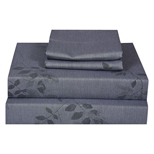 Just Leinen 300Fadenzahl 100% Qualität Ägyptische Baumwolle echtem Jacquard Damast Muster,, Gray Dawn Farbe, doppelte Größe Betten Spannlaken mit Set Deep, Blatt, baumwolle, Gray dawn, Doppelbett