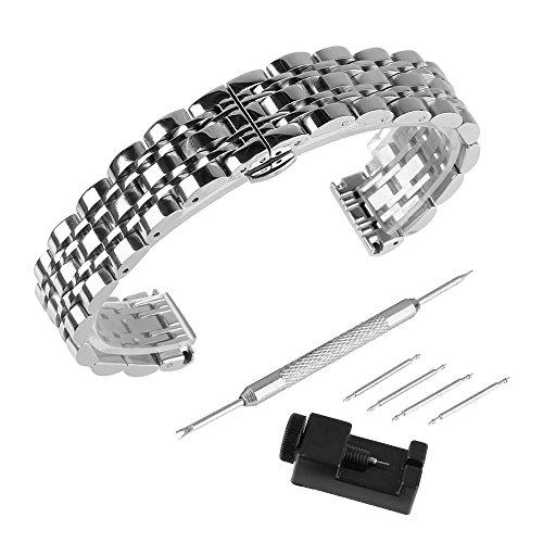 BEWISH 22mm Uhrarmband Edelstahl Ersatzband Solide Metall Uhr Band Riemen Uhrenarmbänder Ersatz Edelstahlschliesse Faltschließe Uhr Armband Unisex Smart Watch Wrist Strap Band Sicherheitsverschluss