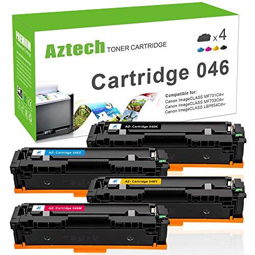 Aztech 4 Pack Kompatibel für Canon 046 046h Toner 046h Yellow für Canon i-sensys MF732CDW Druckerpatrone Canon MF734CDW MF735CX LBP653CDW LBP654CX Toner Schwarz Cyan Gelb Magenta -