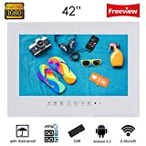 Soulaca 42' Frameless IP66 Waterproof Andriod Freeview Smart Digital LED TV for Bathroom, Hotel and Kitchenn, Amazon Fire TV Stick Compatible, with Wi-fi/HDMI(White)