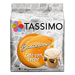 Purchase Tassimo Barcelona Cafe con leche Coffee With Milk, Coffee, Coffee Capsules, Grounded Roast Coffee 16T Discs 180ml - Jacobs Douwe Egberts
