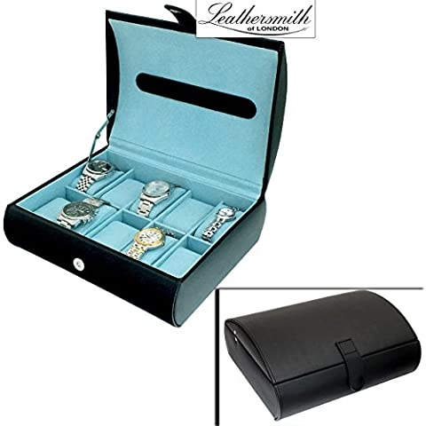Leathersmith of London® LIMITED EDITION Gents Genuine Black Bonded Leather 10 Watch Storage Case Organiser Box with Aqua Blue Interior