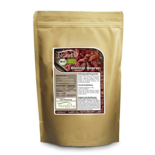 NuraFit BIO Goji Beeren | 1000g / 1kg | Ungeschwefelt ohne Zusätze | Vegan Superfood Snack | Zertifizierte Premiumqualität nach DE-001-ÖKO