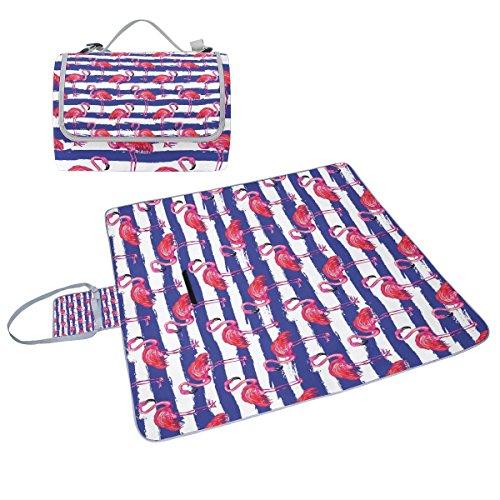 COOSUN Exotic Pink Flamingo Vogel-Picknick-Tasche mit Matte Schimmel resistent und wasserdicht Camping-Matte für rving, Picknickdecke,...