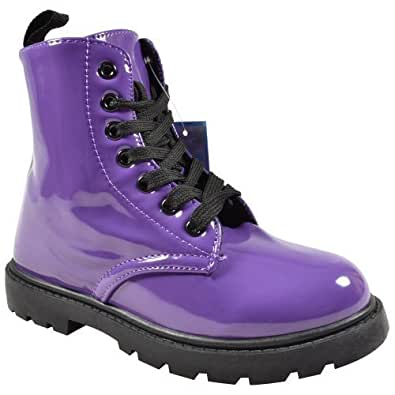 NEW GIRLS BOYS FUNKY PUNK VINTAGE RETRO LACE UP KIDS STYLISH COMBAT ANKLE BOOTS SHOES (UK 1, Purple)