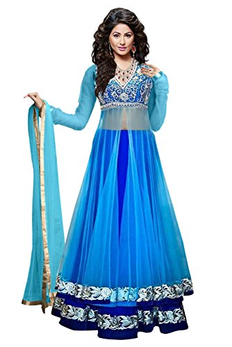 Sky Global Sky Blue Georgette Designer Semi-stitched Lehenga Choli (Lehnga_152_Free Size_Blue)  available at amazon for Rs.299
