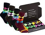gigando | karo Baumwoll-Socken | bunte Strümpfe für Damen und Herren mit farbenfrohen Karomustern | Hand gekettelt | extra feines Maschenbild | 4 Paar | schwarz, navy, braun, bordeaux | 39-42 |
