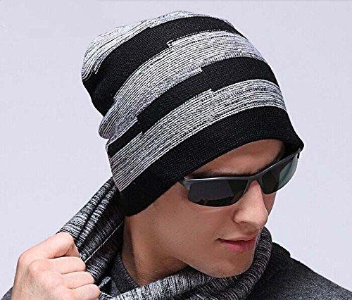 Giacca invernale Celeb Stripe Chunky morbido misto lana a maglia elasticizzato Beanie, uomo