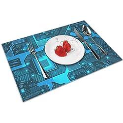 Jujupasg Manteles Individuales Crossweave Woven Vinyl Alfombras De Cocina Antideslizantes Resistentes Al Calor Fácil De Limpiar(4 Piezas) Chip De Computadora Arte Friki