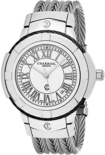 Charriol Celtic Herren-Armbanduhr aus Edelstahl - 38 mm weißes Zifferblatt mit leuchtenden Zeigern, Datum und Saphir-Kristall - Swiss Made Twisted Cable Band Casual Dress Watch CE438SB.655.008 -