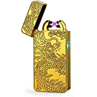 Cool Electric Lighter With Dragon totem, USB Rechargeable Windproof Lighter, Double Arcs Electronic Lighter Box, Great Gifts for Men (Multicolor)