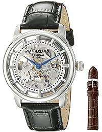 Stuhrling Original Classic Winchester Skeleton Watch Set Orologio da Polso, Display Analogico, Uomo, Cinturino in Pelle, Nero